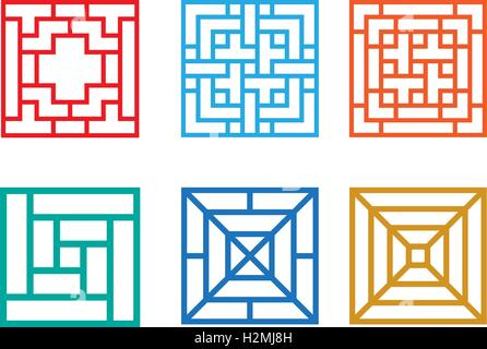 Square pattern window in Chinese style, vector design - Stock Photo