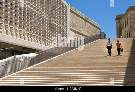 Steps adjacent to City Gate (5th Gate), Valletta, Malta. Built 2011-14. Designed by Renzo Piano.Parliament building - Stock Photo