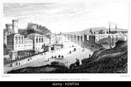 An engraving of Edinburgh from Calton Hill scanned at high resolution from a book printed in 1838. Believed copyright - Stock Photo