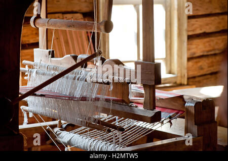 Russian loom in a village house - Stock Photo