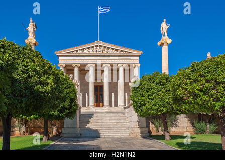 The facade of Athens Academy of Sciences with the main staircase and the statues of Apollo and Athena on high columns. - Stock Photo