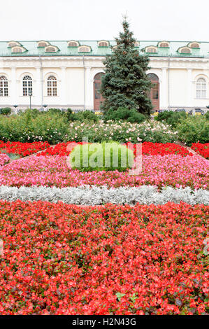 Moscow. Flower Garden on Manezh Square - Stock Photo