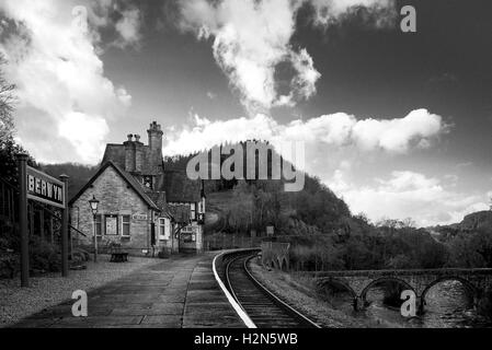 Berwyn Train Station on the Llangollen steam railway track - Stock Photo