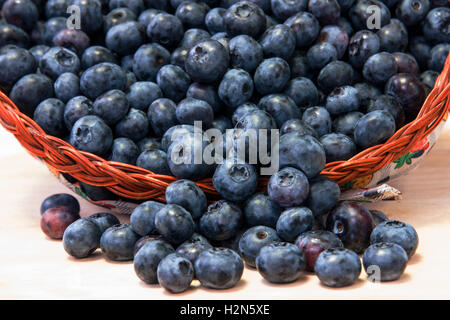 Blueberries in basket - Stock Photo