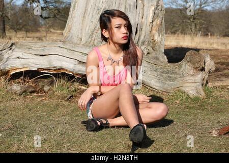 Filipina model at richmond park  ... - Stock Photo