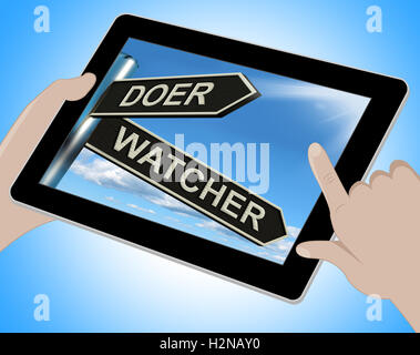 Doer Watcher Tablet Meaning Active Or Observer - Stock Photo