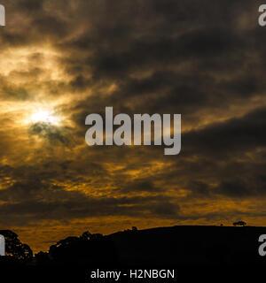 Sunrise over farm land. In Longnor, Staffordshire, England. On 28th September 2016. - Stock Photo