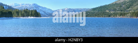 Donner Lake is located in California, close to Nevada border and Lake Tahoe. The picture is taken in winter, from - Stock Photo