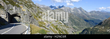 Susten pass, Switzerland - 24 September 2016: people driving them bike on the road to Susten pass on the Swiss alps - Stock Photo