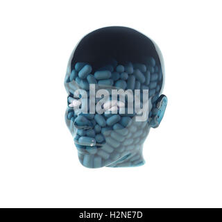 man with pills in head - Stock Photo