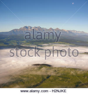 View from Three Crowns to The Tatra Mountains. Morning landscape. Poland - Stock Photo
