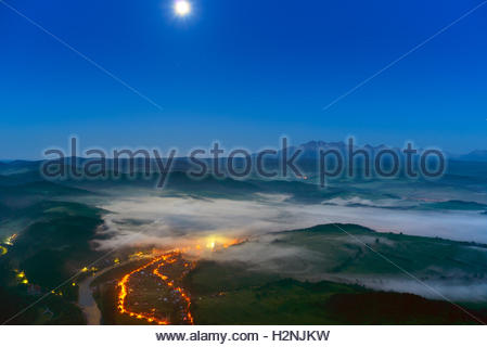 View from Three Crowns to The Tatra Mountains. Poland - Stock Photo