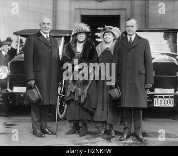 President-Elect Warren G. Harding, wife Florence Harding, Grace Coolidge, Vice President-Elect Calvin Coolidge, - Stock Photo