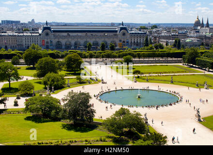 Paris france overview of tuileries garden jardin des for Jardin orangerie
