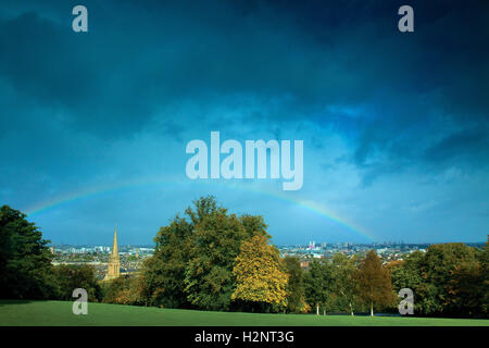 Rainbow over Glasgow from Queen's Park, Glasgow - Stock Photo