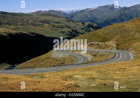 Hairpin turn, road in Pyrenees, France, Europe - Stock Photo