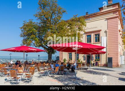 Cafe in the Festung Ehrenbreitstein (Ehrenbreitstein Fortress), Koblenz, Rhineland-Palatinate, Germany - Stock Photo