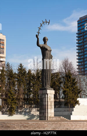 Vilnius, Lithuania - March 18, 2015: A sculpture 'The First Swallows' by lithuanian sculptor Juozas Mikenas in Vilnius. - Stock Photo