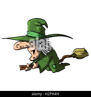 Vector illustration of a Befana or a Witch flying on a broomstick, with green clothes / robe - Stock Photo