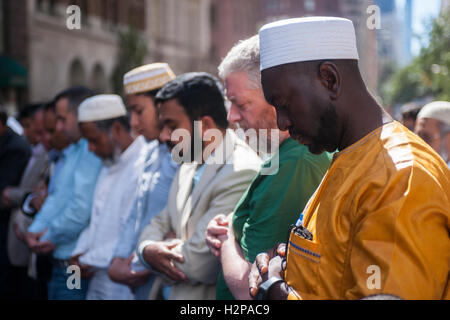 Muslims from the tri-state pray on Madison Avenue  in New York on Sunday, September 25, 2016 prior to the American - Stock Photo
