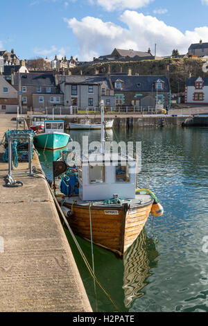 Small Boat in Findochty Harbour - Stock Photo