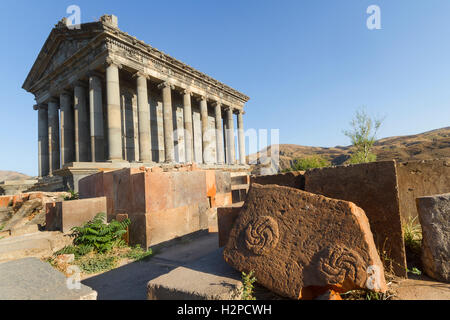 Hellenistic temple of Garni in Armenia. - Stock Photo