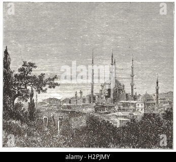 VIEW IN ADRIANOPLE—THE MOSQUE OF SELIM II.- from 'Cassell's Illustrated Universal History' - 1882 - Stock Photo