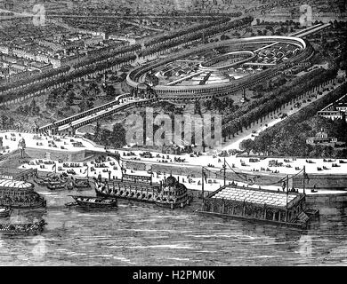 An aerial view of the International Exposition of 1867, was the second world's fair to be held in Paris, some 42 - Stock Photo