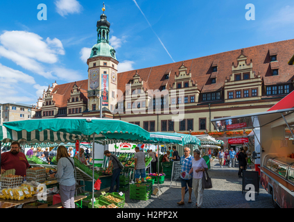 Market in the Markt (Market Square) looking towards the Altes Rathaus (Old Town Hall), Leipzig, Saxony, Germany - Stock Photo