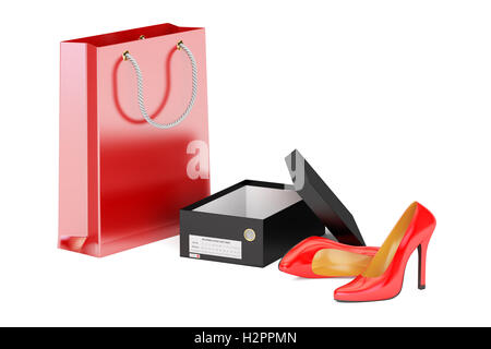 Red high heel shoes, shoebox and shopping bag. Shopping concept, 3D rendering - Stock Photo