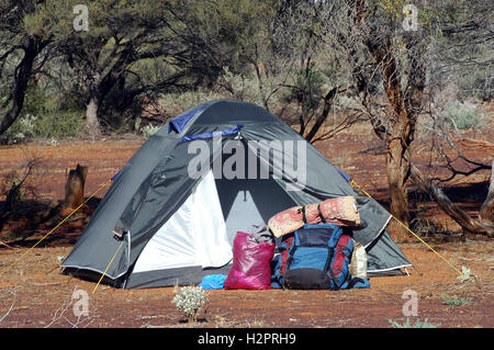 camp-site in the Australian bush with a tent igloo - Stock Photo