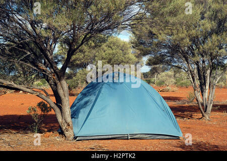 wilderness camping in the Australian bush - Stock Photo