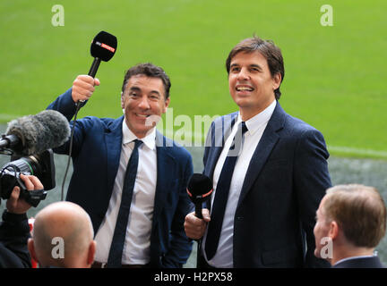 Dean Saunders (left) and Wales manager Chris Coleman working as TV pundits for Sky Sports during the Premier League - Stock Photo