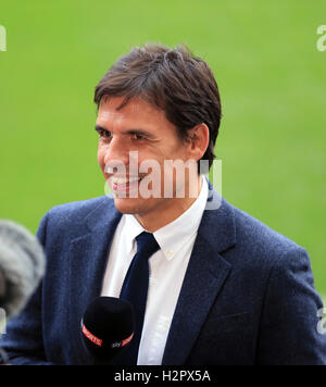 Wales manager Chris Coleman working as a TV pundit for Sky Sports during the Premier League match at the Liberty - Stock Photo