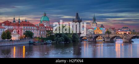 Prague. Panoramic image of Prague, capital city of Czech Republic, during sunrise. - Stock Photo