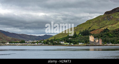 The village Dornie and Eilean Donan Castle in Loch Duich seen from Totaig, Ross and Cromarty, Western Highlands - Stock Photo