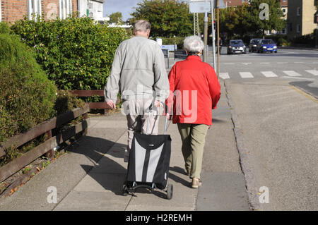 01 October 2016- Danish senior get injection for flue at Kastrup pharmacy, it is free for danish national and those - Stock Photo