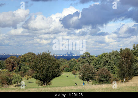 Epsom Downs, Surrey, UK. 1st October 2016. Cumulus cloud over the City of London as viewed from Epsom Downs golfcourse, - Stock Photo