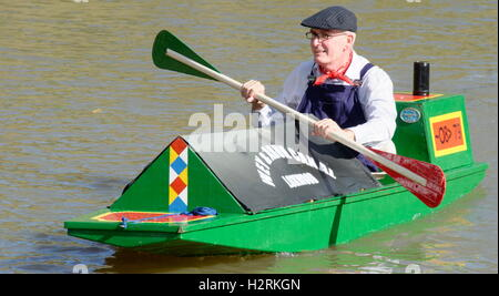 Wey & Arun Canal Trust 200-Year Anniversary - Self-Paddled Canoe/Narrowboat - Stock Photo