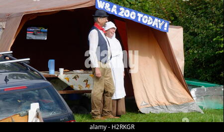 Wey & Arun Canal Trust 200-Year Anniversary - Volunteers in Period Costumes Celebrating the Event - Stock Photo