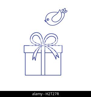 Vector illustration of gift box and a flying bird to her on white background. Made in line style. - Stock Photo