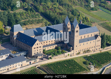 ST HILDEGARD ABBEY (aerial view). Rüdesheim am Rhein, Hesse, Germany. - Stock Photo