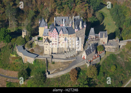 ELTZ CASTLE (aerial view). Rhineland-Palatinate, Germany. - Stock Photo