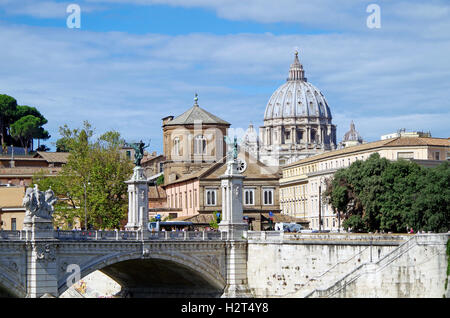 View westwards from the Ponte S Angelo, to the Ponte Vittorio Emanuele and the dome of St Peter's basilica, Rome, - Stock Photo