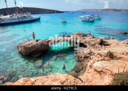 Blue Lagoon, Comino, Gozo, Malta - Stock Photo