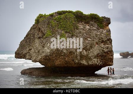Barbados atlantic coast Bathsheba rocks   pretty Young girls ladies teenagers copyspace large boulder playing under - Stock Photo