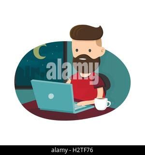 Young men hipster character sitting at a laptop and  working overtime late night. Freelance work. Flat vector illustration. - Stock Photo