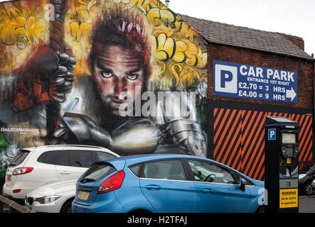 Parking Eye Fines & Regulations watching. Art Graffiti on Cookson Street Car park walls part of the Re-style Blackpool - Stock Photo