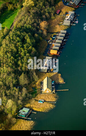 Aerial picture, boathouses in the island lake, Gustrow, Müritz sea scenery, Mecklenburg-West Pomerania, Germany - Stock Photo