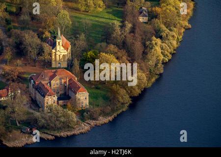 Aerial photo, castle Ivenack with castle church, Ivenacker Eichen, oaktree Stavenhagen, Müritz lake landscape, - Stock Photo